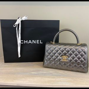 CHANEL Metallic Small Flap with Top Handle, RARE